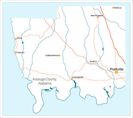 Detailed and large map of Autauga County in Alabama, USA