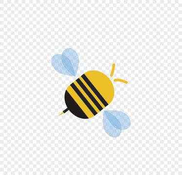 Flying cartoon bee isolated on transparent background.