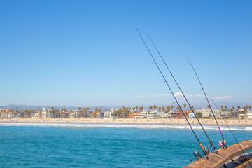 Fishing at the beach california, usa