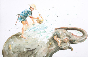 water color paiting illustration on canvas - asia elephant with farmer