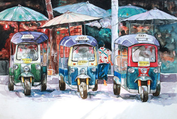 water color paiting illustration on canvas - Thai taxi - tuk tuk