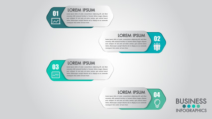 Infographics modern template for business with 4 steps, icons for 4 options.Can be used for workflow layout, diagram, website, corporate report.Vector 3d element.