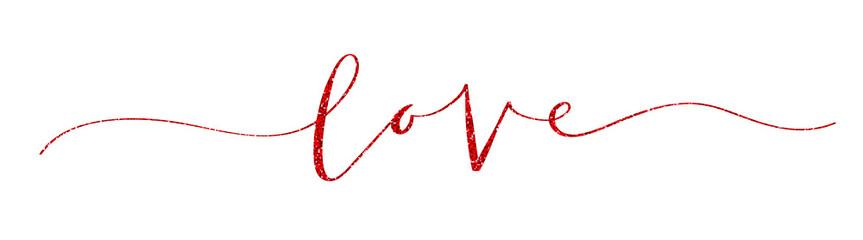"""""""LOVE"""" red glitter brush calligraphy banner"""