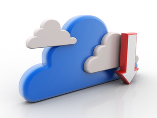 3d illustration Cloud with uploading downloading arrow