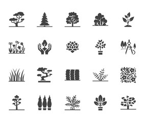 Trees flat glyph icons set. Plants, landscape design, fir tree, succulent, privacy shrub, lawn grass, flowers vector illustrations. Signs for garden store. Solid silhouette pixel perfect 64x64