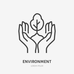 Hands holding soil with tree flat line icon. Vector thin sign of environment protection, ecology concept logo. Landscaping illustration, plant growing emblem
