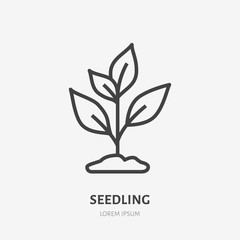 Plant sprout flat line icon. Vector thin sign of environment protection, ecology concept logo. Agriculture illustration, planting, organic emblem