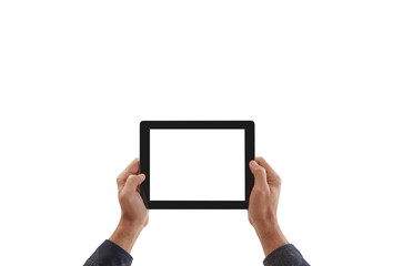 Man is holding a tablet white background and isolated. Horizontal holding phone.