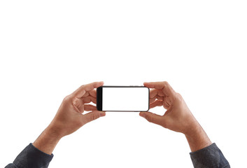 Smartphone isolated, hand holding and finger horizontal.