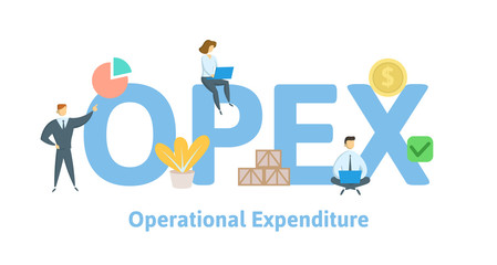 OPEX, Operational Expenditure. Concept with keywords, letters and icons. Colored flat vector illustration. Isolated on white background.