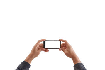 Man holds smartphone, isolated screen, white background and hand finger holding phone.
