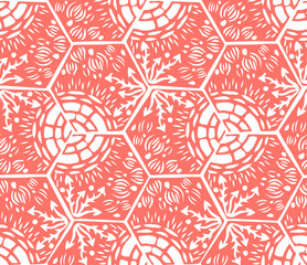Underwater world. Hexagonal tiles. Seamless pattern. White and coral colors.