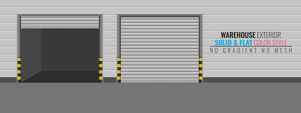 Delivery Warehouse or storage building exterior. High detailed vector illustration.