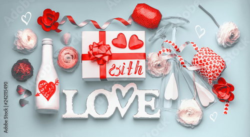 Valentines Day Layout Festive Composition Of Love Made With