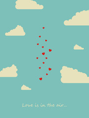 Valentine day or wedding card with hearts in the sky between balloons vector concept. Love is in the air quote.
