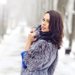 Beautiful woman  in winter