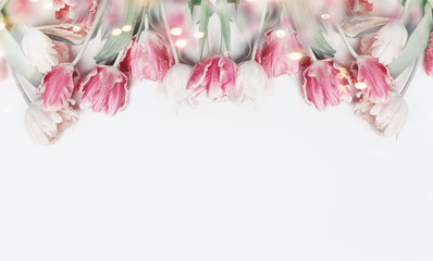 Lovely pastel color tulips border on white background with bokeh. Springtime flowers, top view....