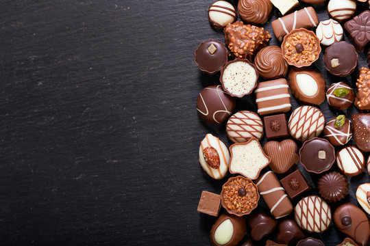 mix of chocolate candies, top view