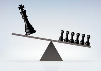 Symbole de la révolution contre la monarchie avec le peuple renversant le roi, symbolisé par un jeu d'échec sur une balance