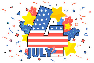 Happy 4th of July. Concept of Independence Day of USA.