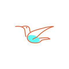 flying bird line art creative logo template vector illustration