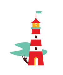 Vector portugal flat lighthouse with a tree
