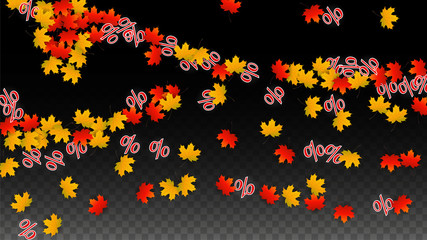 Vector Percentage Sign and Autumn Leaves Confetti on Transparent Background. Percent Sale Background. Business, Economics, Finance Print. Discount Illustration. Promotion poster. Black Friday Banner.