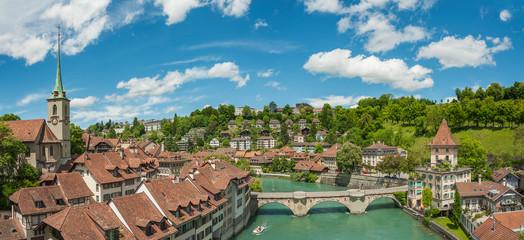 Fototapete - Panorama landscape of Bern, capital city of Switzerland