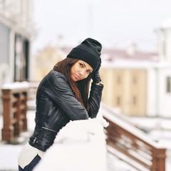 Beautiful girl portrait in winter