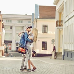 Beautiful young couple outdoor portrait
