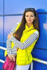 Stylish girl in colorful clothes