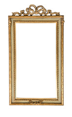 Vintage silver rectangular frame with an ornament isolated on white. Retro style.