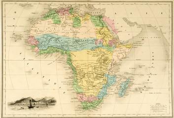 Karte Landkarte Afrika um 1860 historisch