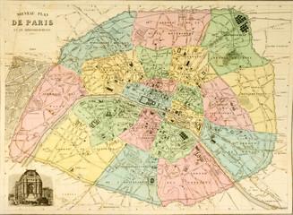 Stadtplan Karte Map Paris um 1850