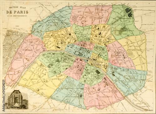 Karte Paris Stadtplan.Stadtplan Karte Map Paris Um 1850 Stock Photo And Royalty Free