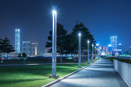 Tamar Promenade of Hong Kong city at night