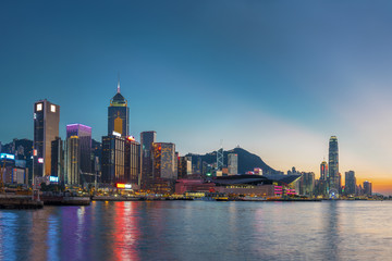 Panorama of Hong Kong city under sunset