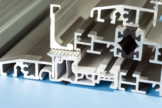 Aluminium anodized profile cross section pvc aluminium composite closeup