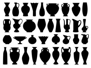 Obraz Vintage greek vases black silhouette on white background, vector illustration - fototapety do salonu