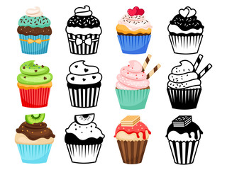 Cupcake set vector illustration. Colorful and silhouettes sweet cakes