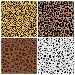 Panther skin. Leopard pattern or jaguar print set, spotted cat fur patterns vector illustration