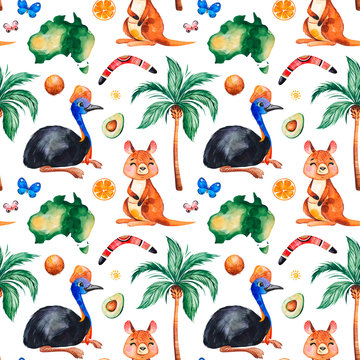 Travel watercolor seamless pattern with Australian animals,fruits,butterflies,palm tree,boomerang and more. Perfect for wallpaper,print,packaging,invitations,packaging,cover design,travel etc