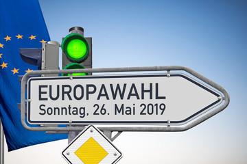 Europawahl, Wegweiser, Signal auf Grün