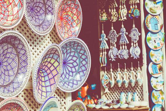 Traditional souvenir in tunisian market, Sidi Bou Said, Tunisia.