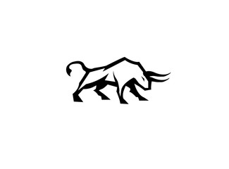 bull and buffalo attack with horns logo