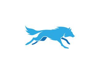 wolf running logo