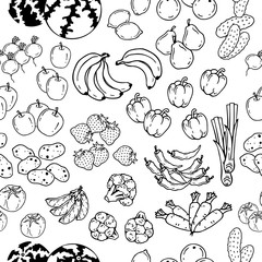 Pattern of vector illustrations on the vegetarianism theme: various types of fresh vegetables and fruits. Zero waste. Eco lifestyle. Isolated objects for your design.