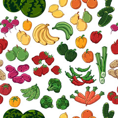 Pattern of vector colorful illustrations on the vegetarianism theme: various types of fresh vegetables and fruits. Zero waste. Eco lifestyle. Isolated objects for your design.