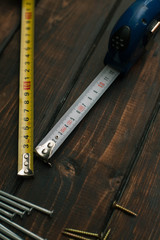 Repair modern tools on wooden background top