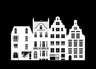 Facades of houses, street, vintage. Cartoon-style. Vector